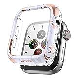SURITCH Coque pour Apple Watch Series 6/5/4/SE 44 mm avec protection d'écran en verre trempé HD transparent résistant aux chocs Coque de protection complète pour iWatch Series 6/5/4/SE (marbre doré)