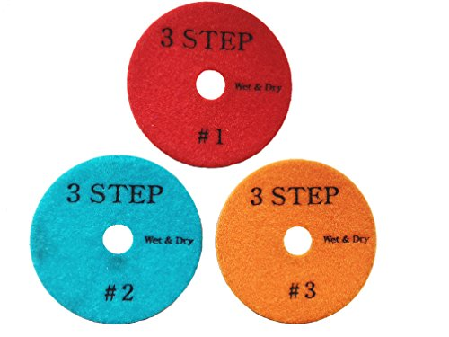 For Sale! ZERED PP4-3S 4in. Wet/Dry Premium 3 Step Diamond Polishing Pads for Granite&Marble (All 3 ...