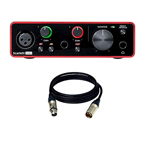Focusrite Scarlett Solo (3rd Gen) USB Audio Interface with Pro Tools with Bajaao XLR Cable (Male to Female)