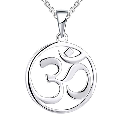 JO WISDOM Damen Kette Silber 925,Halskette Anhänger indische Yoga Om Zeichen Amulett Ohm (Farbe Weißgold) (Farbe Weißgold)