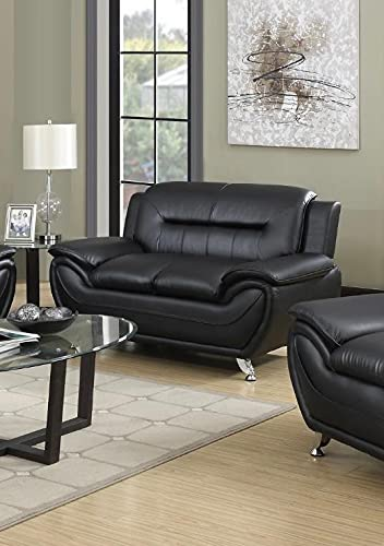 7 star Max sofa 3 Seater or 2 Seater in Black and Grey Faux Leather with Chrome silver legs (Black, 2 Seater)