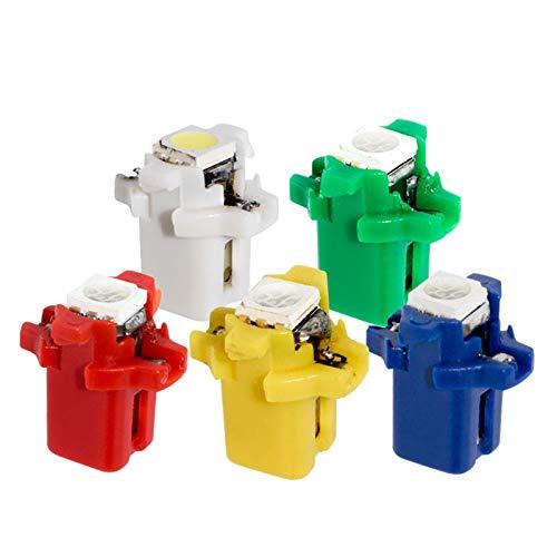 MXQ CJXIN 10 unids T5 B8.3D 5050 LED 1 Lámparas SMD T5 Lámparas Galiotas de Coches Speedo Dash Bombilla Dashboard Light 12V Azul Rojo Verde Blanco Amarillo 10x (Emitting Color : Blue)