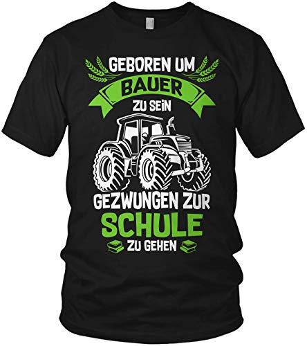 Geboren um Bauer zu Sein, gezwungen zur Schule zu gehen - Farmer Landwirt Traktor Trecker - Herren T-Shirt und Männer Tshirt, Größe:XL, Farbe:Schwarz/Grün