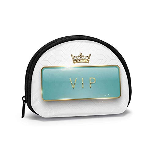 VIP Light Green Gs Label with Golden Frame Sparkles and Crown On White Baground Women Girls Shell Cosmetic Make Up Storage Bag Outdoor Shopping Coins Wallet Organizer