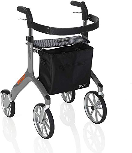 Stander Let's Fly Rollator, Lightweight Four Wheel Euro Style Walker with Seat and Locking Brakes, Foldable Rolling Walker for Seniors by Trust Care, Gray