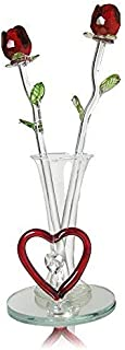 Mom Gift - Two Red Roses in Vase - Forever Rose Collection with Heart Shaped Charm and Designs - Mother's Day, Lover Girlfriend Wife