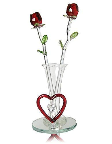 BANBERRY DESIGNS Infinity Rose - Two Crystal Red Roses in Bud Vase - Forever Rose Collection with Heart Shaped Glass Charm and Designs – Valentines...