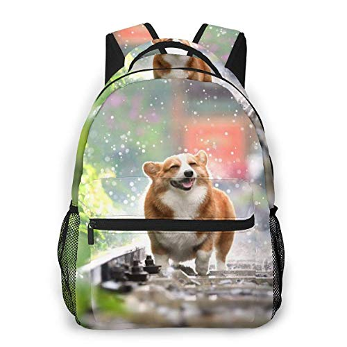 Lawenp Fashion Unisex Backpack Cute Corgi Dog Bookbag Lightweight Laptop Bag for School Travel Outdoor Camping