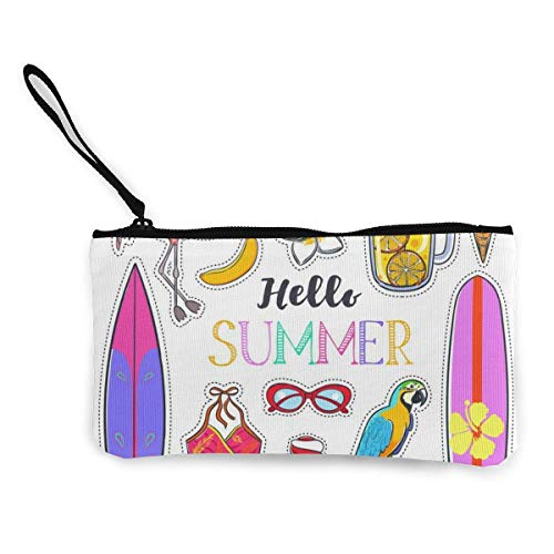 Set of Fashion Summer Stickers Canvas Wallet Exquisite Coin Purses Small Canvas Coin Purse is Used to Hold Coin Change, ID and Other