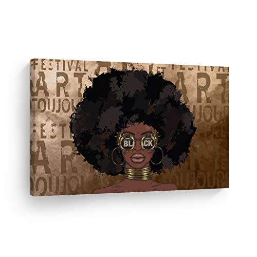 Smile Art Design African Women Gold Brown Modern Art Pop Art Painting CANVAS Wall Art Print Wall Decor Black Sunglasses African Art Home Decor Ready to Hang - %100 Made in the USA - 8x12
