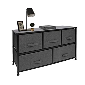 crib bedding and baby bedding east loft extra wide storage cube dresser organizer for closet, nursery, bathroom, laundry or bedroom 5 fabric drawers, solid wood top, durable steel frame charcoal