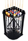 Iszy Billiards 8 Pool Cue Rack Only- Billiard Stick Stand Holds 8 Cues & Ball Set Choose Mahogany, Oak or Black Finish (Black)
