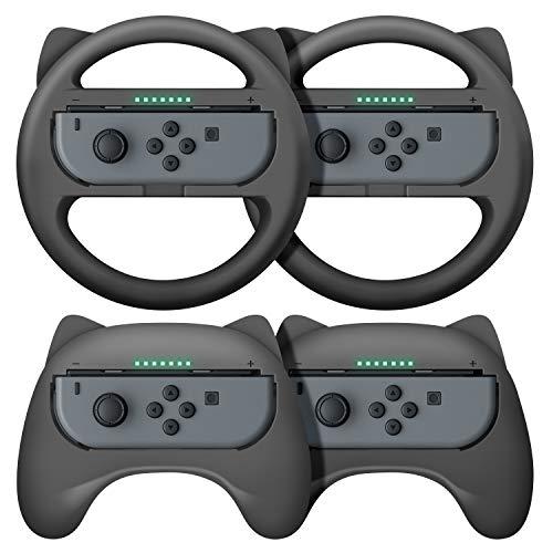 【最新NS Joy-Con専用クリップ&お得4点セット】 Nintendo Switch joy-con対応 ハンドル型+ゲームパッド型 マリオカート8 デラックス スイッチ レーシングゲーム ハンドル コントローラー(装着簡単、手触り良い、持ちやすい) スイッチ ジョイコン専用 マリオカート ハンドル (ブラック/ブラック)