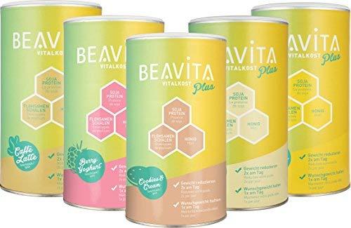 BEAVITA Vitalkost Plus 5 Sorten Probierset - Diät-Shake für unbeschwertes Abnehmen - reicht für 50 Shakes/Mahlzeiten - Kalorien sparen & Gewicht reduzieren - inkl. Anleitung