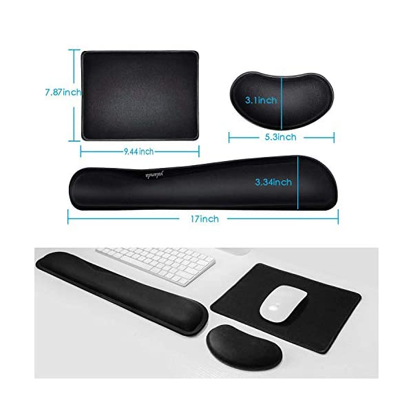 Keyboard Wrist Rest + Mouse Pad + Mouse Wrist Rest Support Set, Memory Foam, Easy Typing Pain Relief, 3Pcs Keyboard Mouse Pad Set for Computer, Laptop,...