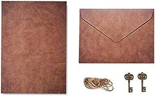 Vintage Kraft Paper Envelopes Letter Paper Set with Exquisite Pendant & Hemp Rope, Stationery Envelope Set Confession Lett...