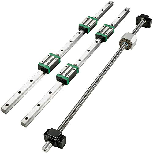 BestEquip Linear Guide Rail 2Pcs HGR20-900mm Linear Slide Rail with 1Pcs RM1605-900mm Ballscrew with BF12/BK12 Kit Linear Slide Rail Guide Rail Square for DIY CNC Routers Lathes Mills