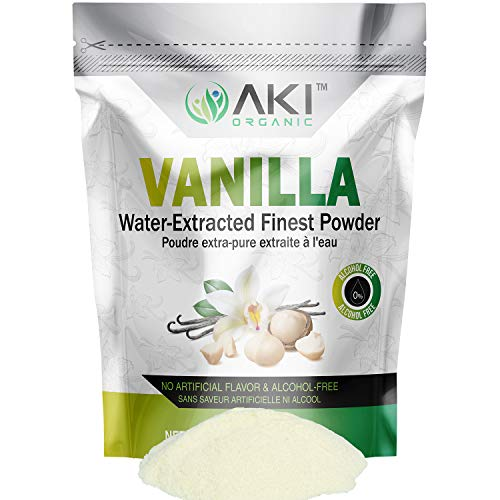 Aki Organic Fine Vanilla Powder Natural Extract From Beans Water Extracted powdered For Baking, Cooking Flavoring, Smoothie, Delicious Powedered Vanila in Coffee, No Gmo Alcohol Free (10.58OZ /300Gr)
