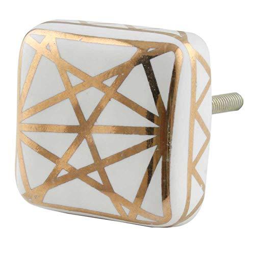 Maniglie IndianShelf 4 pezzi a mano d'oro in ceramica Piazza floreale piatto Dresser manopole Governo del cassetto porta della cucina armadio tira