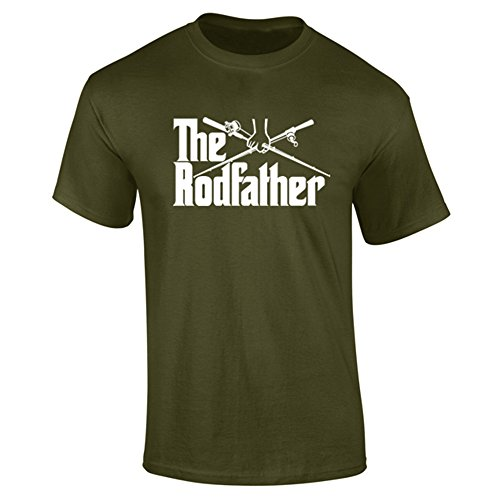 Mens The Rodfather Parody Fishing Funny Slogan T-Shirt Khaki (L)