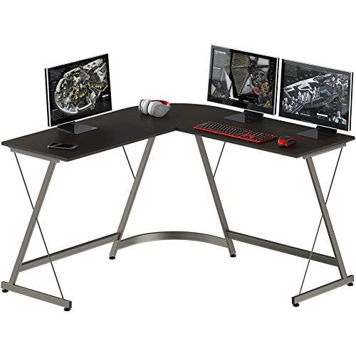 SHW Gaming Desk L-Shaped Desk Computer Corner Table, Espresso