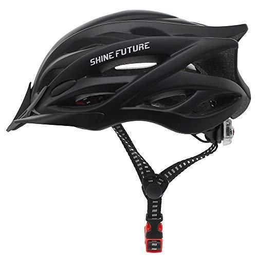 Fahrradhelm für Erwachsene, verstellbare leichte Fahrradhelme für Männer und Frauen, Rennrad- und Mountainbike-Helm mit abnehmbarem Visier und LED-Rücklicht (Schwarz)