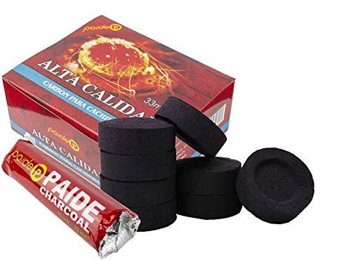 PAIDE - Lames à charbon de bois pour brûleur, encens, encensoir, fumoir, chicha, narguilé, narguilé, narguilé (10 rouleaux, 100 unités) (100)