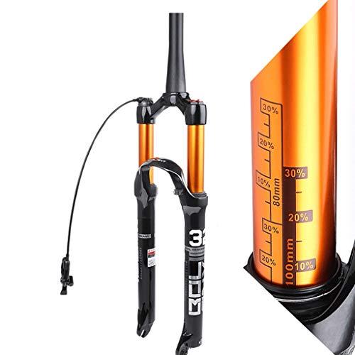 LHHL Horquillas de suspensión de Bicicleta 26/27.5/29 Pulgadas Aire Amortiguación Aleación de Magnesio MTB Bicicleta Freno Freno de Disco 100 mm Viaje 1-1/2' QR 1650g, color Mando a distancia., tamaño 26 pulgadas