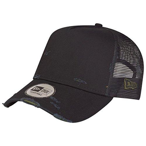 New Era Adjustable Trucker Cap - Distressed schwarz