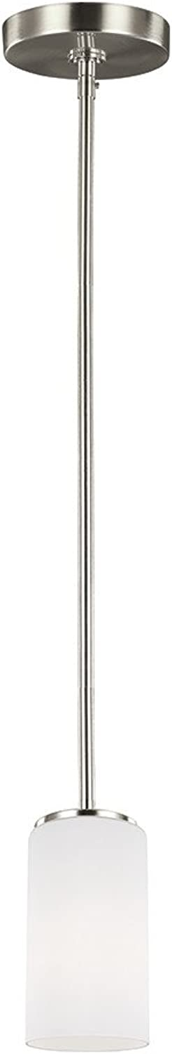 Sea Gull Lighting 6124601-962 Alturas One-Light Mini-Pendant with Etched White Inside Glass Shade, Brushed Nickel Finish