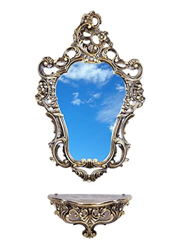 Ideacasa Completo Specchio e Mensola Consolle Nero Oro Stile Barocco Luigi XVI Finto Vintage