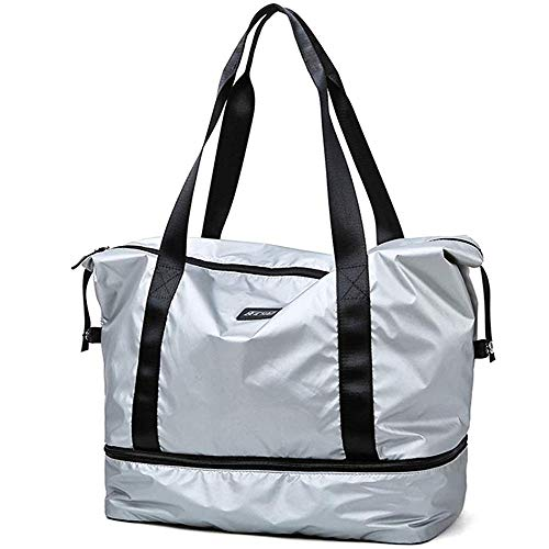 Namio スポーツバッグ ジムバッグ レディース ボストンバッグ 大容量 軽量 防水 靴入り 旅行 ゴルフ用バッグ 乾湿分離 男女兼用 (銀色)