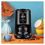 MERSHAO Kit de máquina de cafetera caliente eléctrica de 600 ml de tierra instantánea - Pre 4 tazas Cappuccino y espresso Jarra de café de vidrio incluido, nivelado y intensidad de molienda ajustable,
