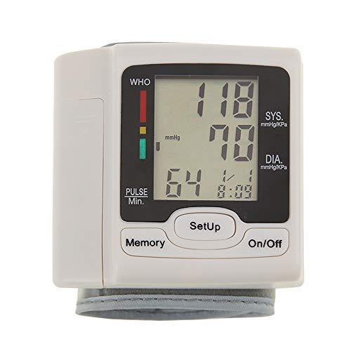 Tensiómetro de muñeca, Monitor de presión arterial automático Esfigmomanómetro de muñeca Pantalla digital LCD Uso doméstico para medir la frecuencia del pulso para uso doméstico o externo