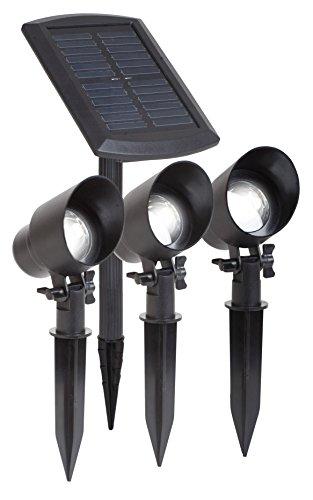Maximus GL009BP3M 3x LED Solarstrahler im Paket mit externem Solarpanel, 15 lumen je Strahler und Erdspieße