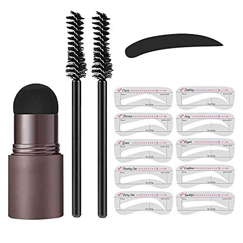 Kit de modelado de sellos de cejas de un paso – plantilla de maquillaje reutilizable para cejas en polvo de ojos y cejas apto para principiantes, juego de cosméticos para mujer (gris oscuro)