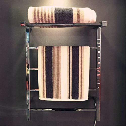Toallero Eléctrico Bajo Consumo Toalla caliente eléctrica de acero inoxidable, calentador de toallas calefactoras cuadradas de pared con estante de almacenamiento 4 barras cuadradas para baño 71052025
