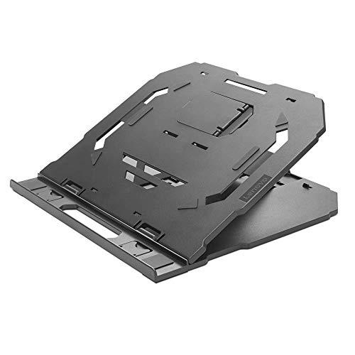 Lenovo 2-in-1 Laptop Stand, Ergonomic, 10 Adjustable Tilt Angles, Ventilated, Non-Slip, Portable, GXF0X02619, Black (Renewed)