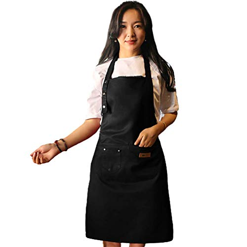 """WF WU FANG Aprons for Women and Men Adjustable Cooking Kitchen Chef Apron with 3 Pockets Cute Apron Bib 31"""" x 27"""" Black"""