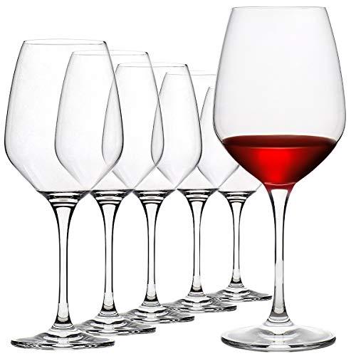 FAWLES Bicchieri da Vino Rosso in Cristallo Set di Bicchieri da Vino Bordeaux con Gambo Trasparente...
