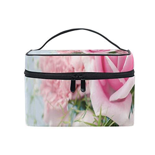 Sac de maquillage Roses Fleurs roses Sac cosmétique Grand sac de toilette portable pour les femmes/filles Voyage