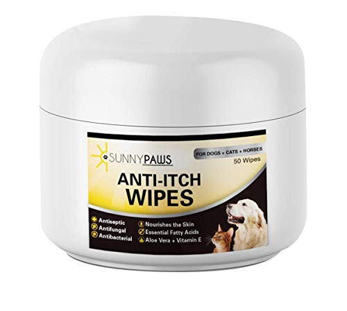Sunny Paws Anti-Itch Wipes for Dogs Cats and Horses - Medicated Ketoconazole & Chlorhexidine (Antibacterial, Anti Fungal, Antimicrobial) - Cucumber Melon Scent 50 ct.