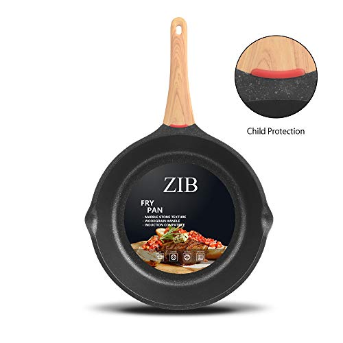 ZIB Induction Nonstick Frying Pan Skillet Stone Pan for Eggs Child Protection Function Granite Coating from Germany