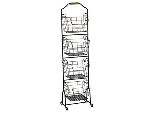 Gourmet Basics by Mikasa Ferme 4-Tier Metal Floor Standing FruitHome Storage Market Basket Antique Black