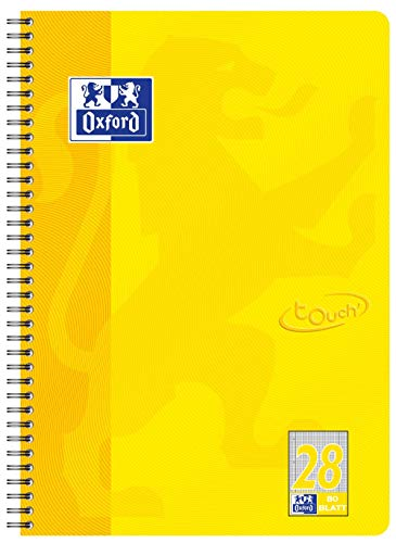 OXFORD 400086495 Collegeblock Touch im Format A4 80 Blatt kariert mit Doppelrand sonnengelb Schreibblock Notizblock Briefblock Schulblock