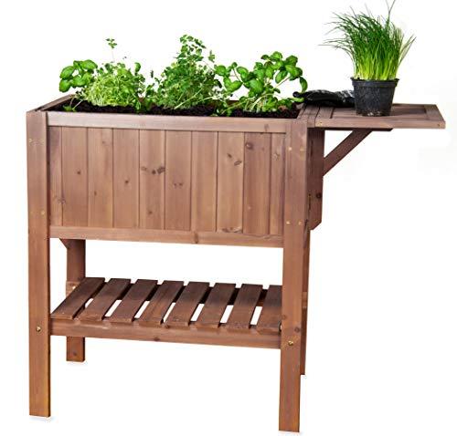 CV Hoch-Beet Pflanz-Tisch Kräuter-Beet FLORALIS Tannenholz mit Ablage für Balkon und Terrasse