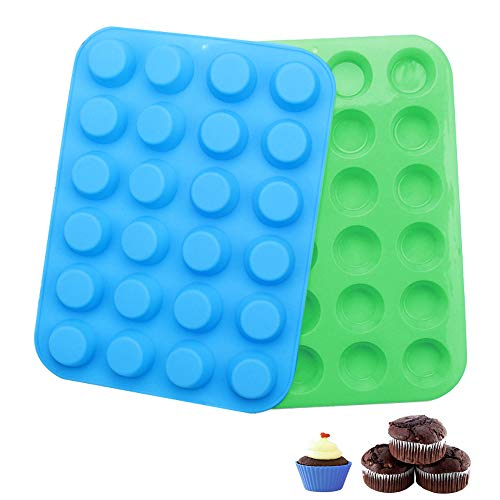 2 Pack Silicone Muffin Pan Cupcake Set, 24 Cups Muffin Silicone Cupcake Baking Pans/Non Stick/Dishwasher,Silicone Muffin Molds-Microwave Safe(Blue and Green)