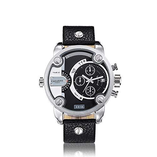 Reloj de Cuarzo ZHANGZZ Reloj de Gama Alta, Cuarzo de la Manera CAGARNY Relojes de Cuarzo Reloj Deportivo Grandes Hombres del Reloj de marcación (Color : 1)