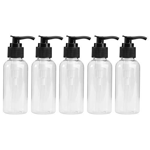 TOPBATHY [5 Unidades] Botella de bombeo rellenable | Dispensador de jabón vacío para viajes, higiene, limpieza de líquidos [Negro -100 ml (5 unidades)]