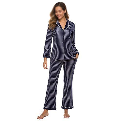 WALNUT Manga Larga para Mujer Ropa de Dormir Pijamas Conjuntos a Rayas Down Lounge Sets salón Desgaste Ligero Ropa de Dormir Modal Suave (Color : A, Size : Medium)